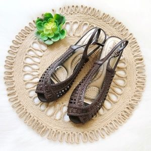 Brown Faux Leather & Cork Braided Peep Toe Sandal